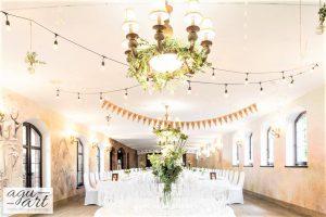Dekoracja sali weselnej - Stół z szampanem