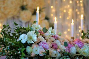 Dekoracja ślubna na sali w domu weselnym Rajski Ogród